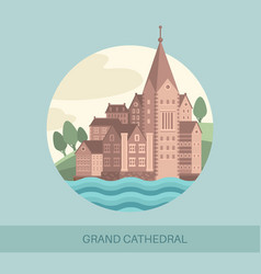 grand cathedral side view vector image