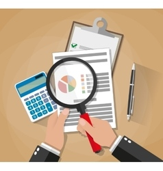 hands with magnifier analysis paper sheet vector image