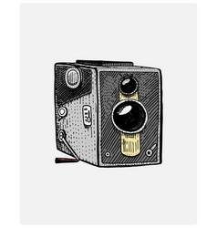 photo movie or film camera vintage engraved hand vector image
