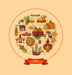 set of cartoon icons for thanksgiving da vector image
