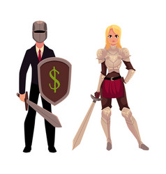 two knights - modern businessman warrior and vector image