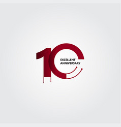 10 years excellent anniversary template design vector