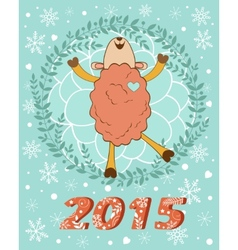 2015 card with cutehappy sheep vector image