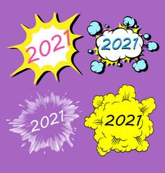 2021 cartoon explosion boom storyboard new year vector image