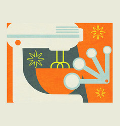 abstract collage tools for baking and food prep vector image