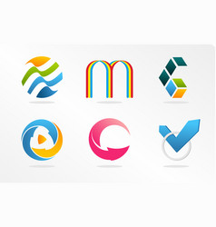 abstract logos collection colorful unusual vector image