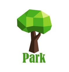 Abstract polygonal green tree icon vector