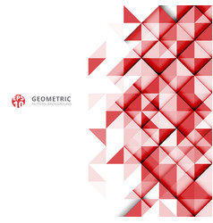 Abstract red geometric triangles pattern on white vector