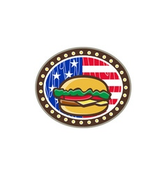 American cheeseburger usa flag oval cartoon vector