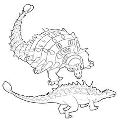 Ankylosaurus lineart vector