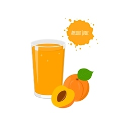 apricot juice with yummy apricot and juicy vector image