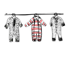 Baby clothes on clothesline hand drawn vector
