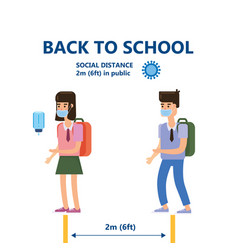 Back to school poster safe social distancing vector