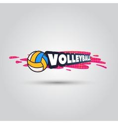 Ball symbol Volleyball Logo Badge Sport emblem vector image