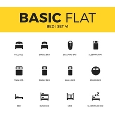 Basic set of bed icons vector