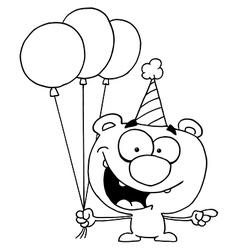 Birthday teddy bear cartoon vector