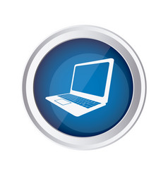 blue emblem laptop icon vector image
