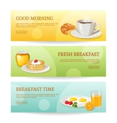 Breakfast time banners set vector