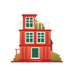 Brick residential house front view vector