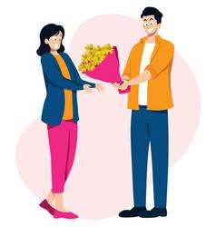 bringing her flowers vector image