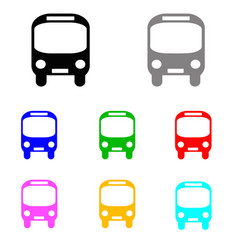 Bus set in multiple colors vector