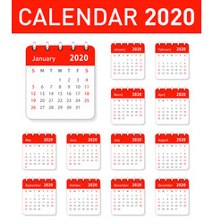 calendar for 2020 year in clean minimal table vector image