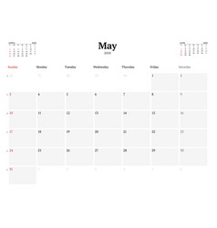 Calendar template for may 2020 business monthly vector