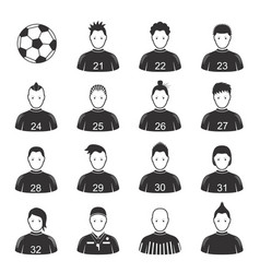 cartoon black soccer players and ball icon set vector image
