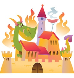 Cartoon dragon is siting in the castle in fire vector image
