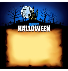 Castle behind sheet of paper Halloween background vector