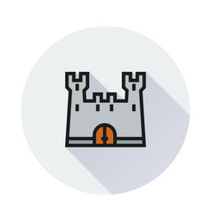 Castle icon on round background vector