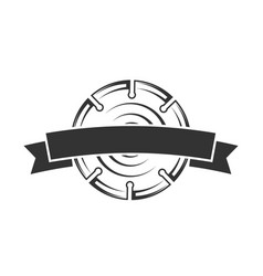 Circular saw with a ribbon isolated on a white vector