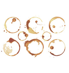 Coffee and tea stains left cup bottoms set vector