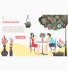 coffee break with girl and boy couple sitting vector image
