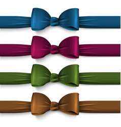 collection dark colors silk bows with ribbons vector image