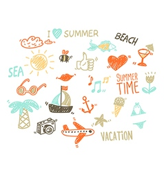 collection summer elements in sketch style vector image