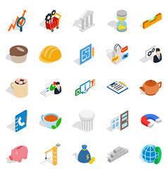 Commerce icons set isometric style vector