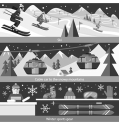 Concept Skiing Winter Sport Flat Style vector