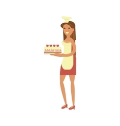 Confectioner with cake vector image