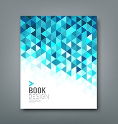 Cover report blue triangle geometric pattern vector image