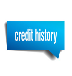 Credit history blue 3d speech bubble vector