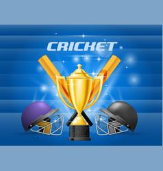 cricket championship - cricket helmet bat and vector image