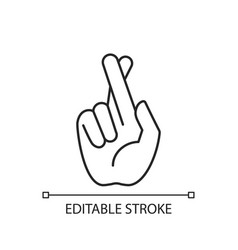 Crossed fingers linear icon vector