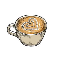 cup latte art heart sketch engraving vector image