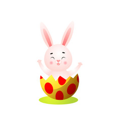 cute happy smiling easter rabbit exit from vector image