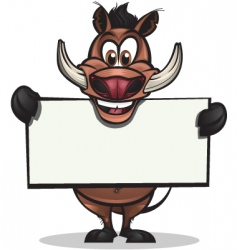 cute warthog holding sign vector image