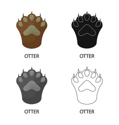 Design otter and paw icon collection of vector