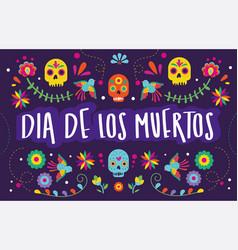dia de los muertos card with calligraphy vector image