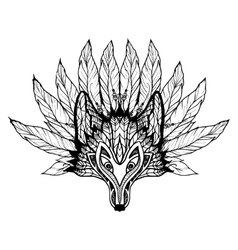 Doodle Wolf Mask vector image