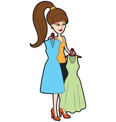 Fashion girl choosing dress vector